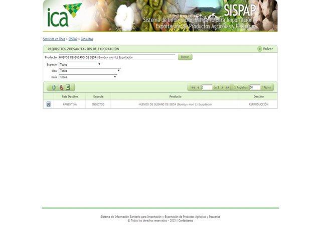 Los requisitos de exportación se pueden consultar en el SISPAP